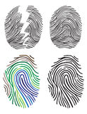 Set of fingerprint vector flat line icons. Stock Images