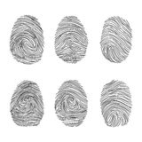 Set of fingerprints icons, id security identity. Vector illustration Royalty Free Stock Photo