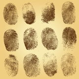 Set of  fingerprints on vintage background Royalty Free Stock Images