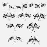 Set of finish flags. Checkered ui icons Stock Photos