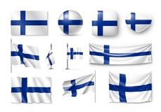 Set Finland flags, banners, banners, symbols, flat icon. Vector illustration of collection of national symbols on various objects and state signs Stock Photos