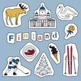 Set of Finland landmark and icons Royalty Free Stock Image