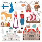 Set with Finland symbols in flat style vector illustration