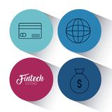 Set of fintech icons. Set of Fintech Financial Internet Technology icons vector illustration graphic design Royalty Free Stock Photo