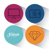 Set of fintech icons. Set of Fintech Financial Internet Technology icons vector illustration graphic design Royalty Free Stock Photos
