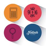 Set of fintech icons. Set of Fintech Financial Internet Technology icons vector illustration graphic design Stock Photos