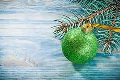Set of fir branch green Christmas ball on wooden board celebrati Stock Image