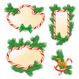 Set of fir-tree branches, Candy frames and borders, elements. For winter holidays design, isolated on white background. Merry Christmas and Happy New Year theme Royalty Free Stock Photography