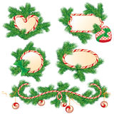 Set of fir-tree branches, Candy frames and borders, elements for. Winter holidays design,  on white background. Merry Christmas and Happy New Year theme Stock Photo