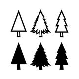 Set of Fir Tree Icons. Fir Tree icons set  on white background Stock Photography