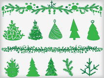 Set of fir-trees and garlands. Royalty Free Stock Photography