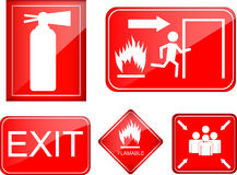 Set of fire accident sign Stock Image