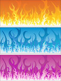 Set of fire backgrounds. Illustration of fire backgrounds in seperate colors Stock Images