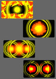 A set of fire backgrounds. Set of backgrounds are made of red and yellow colors Stock Images
