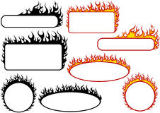 Set of Fire Banners. With White Space - Black and Color Illustrations, Vector Royalty Free Stock Image