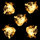 Set fire on black background Stock Photo