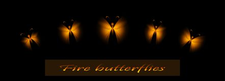 Set of fire butterflies. Golden insects. For decor. Vector. Eps1. Set of fire butterflies on a dark background. Beautiful luminous insects. Close-up. Vector stock illustration