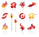 Set of fire design elements Stock Image