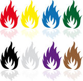 Set of fire. Set of eight colored fire Stock Photo