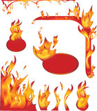 Set of fire elements Royalty Free Stock Photos