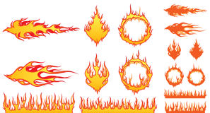 Set of Fire Elements Stock Image