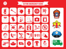 Set of fire emergency icons. Fire exit, emergency exit, fire assembly point, ladder, axe, fire extinguisher, hose reel, alarm, eye wash, fire exit, 911 Royalty Free Stock Image