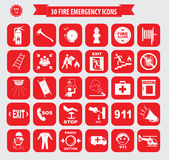 Set of fire emergency icons. Fire exit, emergency exit, fire assembly point, ladder, axe, fire extinguisher, hose reel, alarm, eye wash, fire exit, 911 Stock Photography