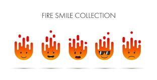 Set of fire emoticons, icon pack, emoji isolated on white background. vector illustration.Using flat colors.  Royalty Free Stock Images