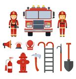 Set of fire equipment fireman. Set of firefighter equipment and clothing, tools, accessories. Flat vector cartoon illustration. Objects isolated on a white Stock Images