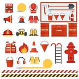 Set of fire equipmen. T. Vector fire man tools . Flat cartoon fire equipment objects isolated on white background. Fire safety objects Stock Images