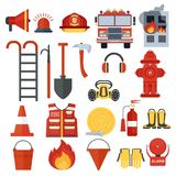 Set of fire equipment. Vector . Flat cartoon illustration. Objects isolated on a white background Royalty Free Stock Photo