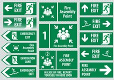 Set of fire exit Stock Images
