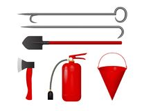 Set for fire fighting. Vector illustration. Fire extinguisher, bucket, axe shovel scrap Stock Photo