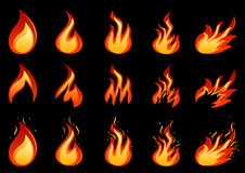Set of fire flame. Vector of fire flames set Royalty Free Stock Images