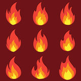 Set of fire flame icon with shadow. Vector illustration Stock Images