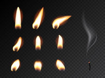 Set of fire flame. Realistic candle flame  on black background. Royalty Free Stock Images