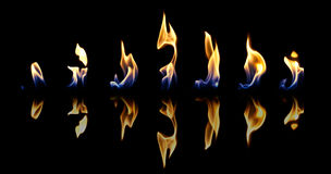 Set of fire flames Stock Photography