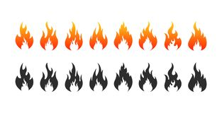 Set of Fire flames icons. Fire silhouette and black fire. Vector illustration stock illustration