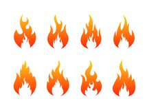 Set of Fire flames icons. Fire silhouette. Vector illustration vector illustration