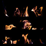 Set of fire flames isolated black background Stock Image