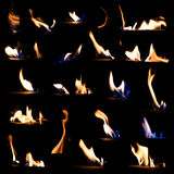 Set of fire flames isolated black background Royalty Free Stock Photos