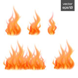 Set of fire flames isolated on white background. Vector illustration. Set of fire flames isolated on white background. Vector realistic special effect Royalty Free Stock Photo