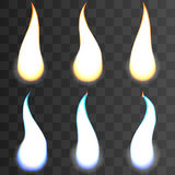 Set of fire flames on transparent background. Special effects. Vector illustration. Translucent elements. Transparency grid 1 Royalty Free Stock Image