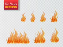 Set of fire flames  on transparent background. Vector illustration. Set of fire flames  on transparent background. Vector realistic special effect Stock Photos