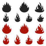Set of fire icons isolated on white background. Stock Images