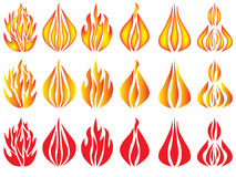 Set of fire icons. Over white Royalty Free Stock Photo