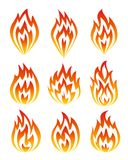 Set of fire icons. Vector illustration Royalty Free Stock Photography