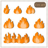 Set fire isolated on a white background. Set fire isolated on a background Stock Photo