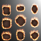 Set of 9 Fire labels template. EPS 10. Realistic Fire Label Set on transparent Background. EPS 10 vector file included Royalty Free Stock Photography