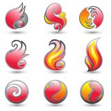 Set of fire logo. Set of hot fire corporate symbols Royalty Free Stock Image
